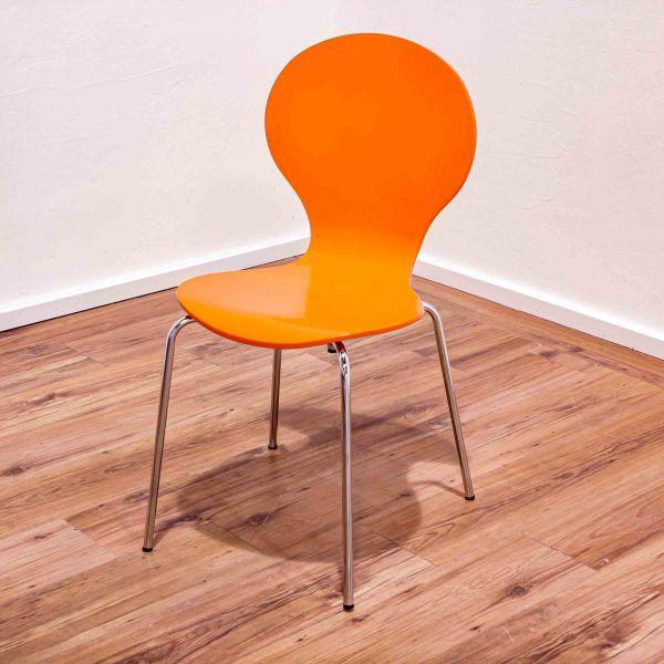 Besucherstuhl orange - ohne Armlehnen - 4-Fußgestell chrom
