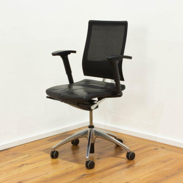 Sedus Bürodrehstuhl UM-100 - Netzrücken schwarz - Sitz Leder schwarz