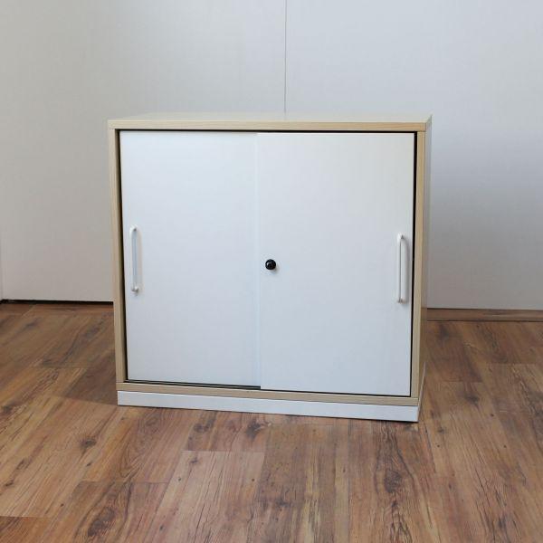 Steelcase Sideboard 2OH Ahorn Korpus Schiebetüren Weiß