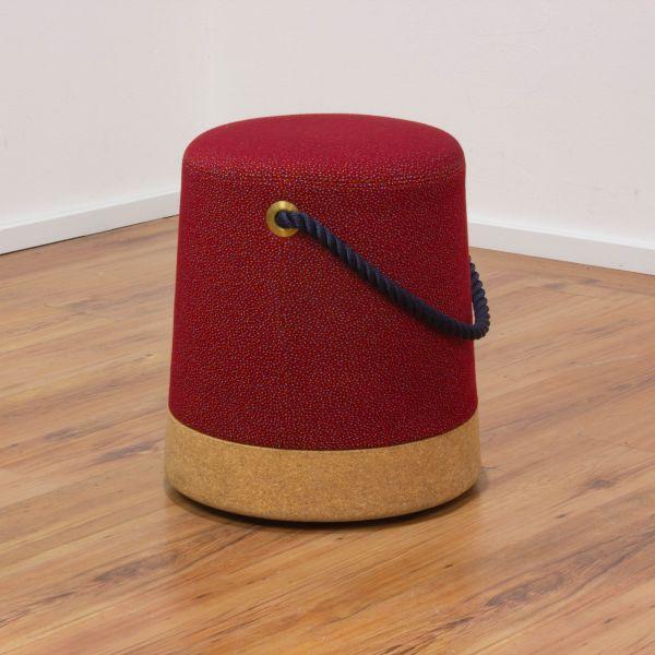 La Manufacture du Design - Design-Hocker - Stoff rot und Kork