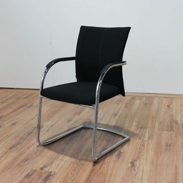 %Sale Klöber Besucherstuhl - Stoff in schwarz - Gestell chrom
