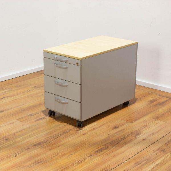 Rollcontainer 4-Laden - Korpus silber - Deckplatte ahorn