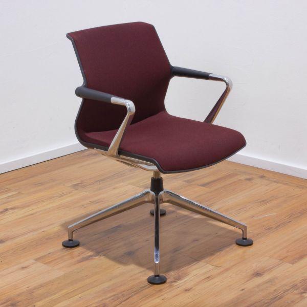 "Vitra ""Unix Chair"" Besucherstuhl - Stoff rot / coconut- Gestell 4-Sternfuß chrom"