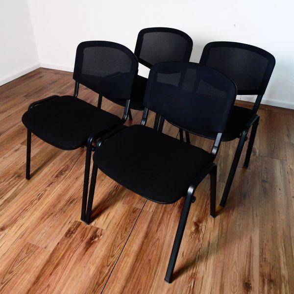 Besucherstuhl stapelbar - Netzrücken engmaschig schwarz - Stoff schwarz - 4er Set