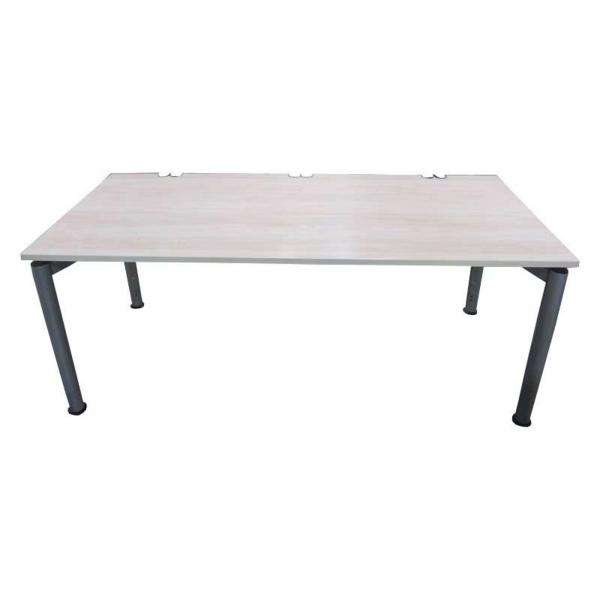 DYES Schreibtisch Ahorn 180 x 80 cm 4-Fußgestell Silber