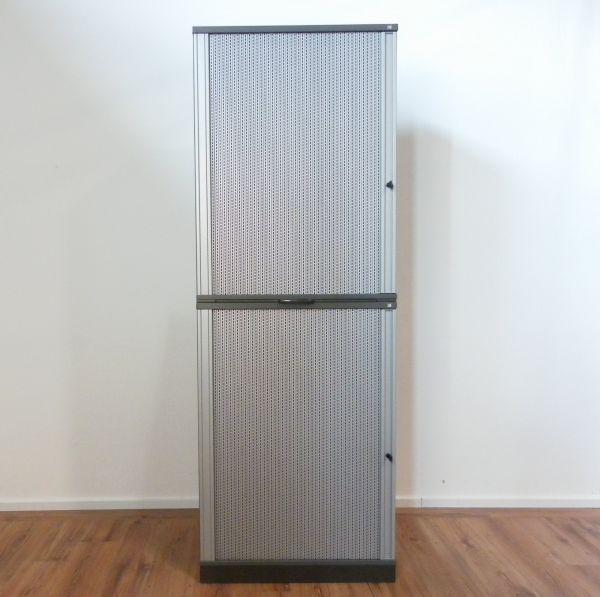 Schärf Aufsatz-Sideboard 6OH Korpus Anthrazit - Querrolladen silber - 100 cm breit
