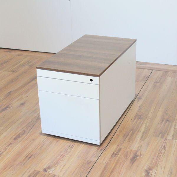 Steelcase Rollcontainer Korpus Weiß Deckplatte Nussbraun