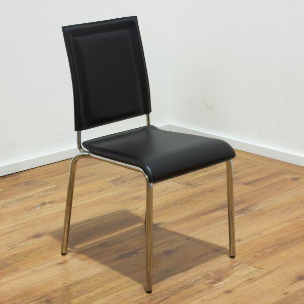 Effezeta Besucherstuhl - Leder schwarz - 4-Fuss Gestell