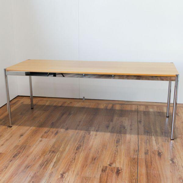 USM Haller Schreibtisch - 200x75cm in birnbaum - Gestell chrom