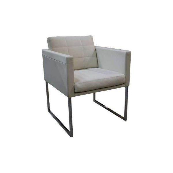 "Matteograssi Sessel ""1880 Britt"" - Höhe 46 cm - Leder in cremeweiß"