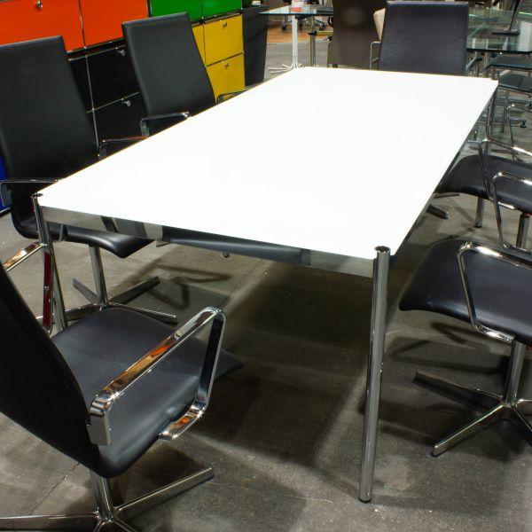 USM Haller Schreibtisch - Konferenztisch - Platte weißglas 200 x 100 cm