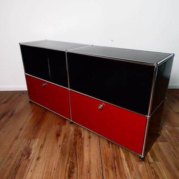USM Haller Sideboard - schwarz / rot - 4 Felder mit 2 Klappen