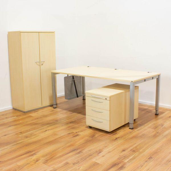 % König & Neurath - Arbeitsplatz-Set - Ahorn - Schreibtisch / Schrank / Rollcontainer