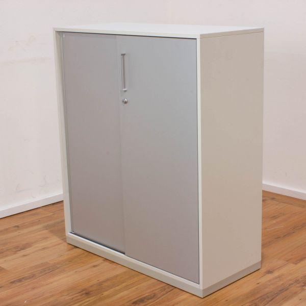 Steelcase Sideboard 3OH - Korpus weiß - Schiebetüren silber 100 cm breit