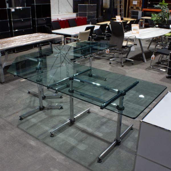 USM Haller Kitos Chef-Schreibtisch 3-teilig - Glasplatten mit Chromgestell