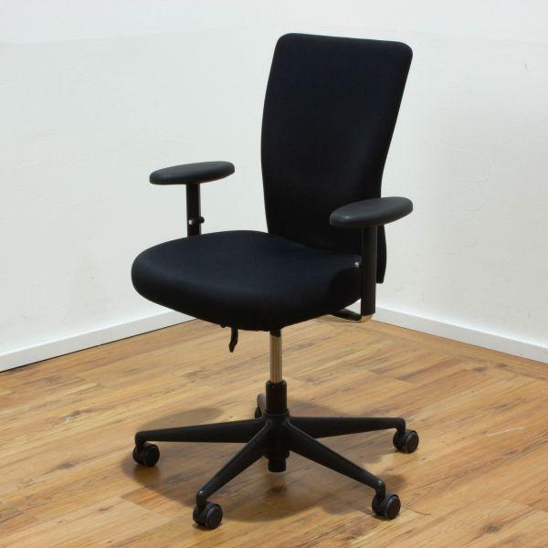 Vitra T-Chair Bürodrehstuhl Stoff schwarz Gestell schwarz