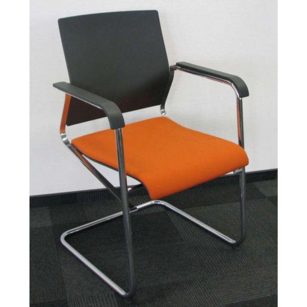 Wilkhahn Sito 241/3 Besucherstuhl Stoff Schwarz Orange Chrom Gestell