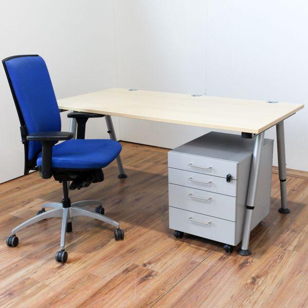Arbeitsplatz Komplettset Vario Schreibtisch VS Rollcontainer K&N Bürodrehstuhl