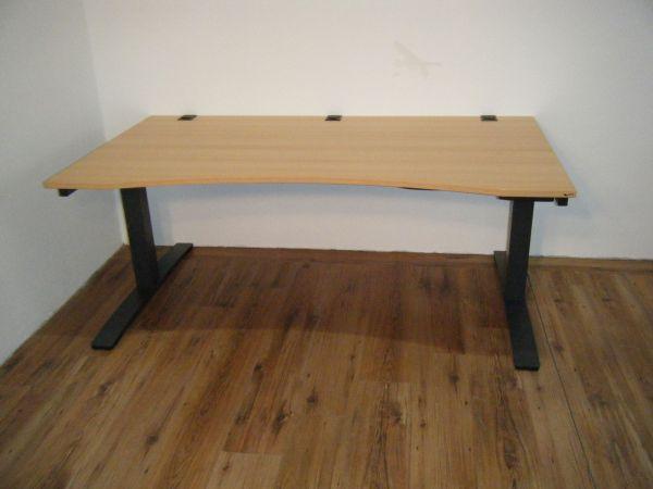 """OKA Schreibtisch """"DL9 Jump"""" - 180x90-100cm in buche - Gestell T-Fuß anthrazit"""