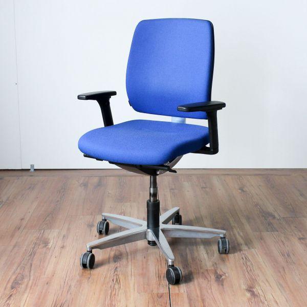 Sedus Early Bird Bürodrehstuhl Bezug Stoff Blau Chrom Gestell Chrom Rücken