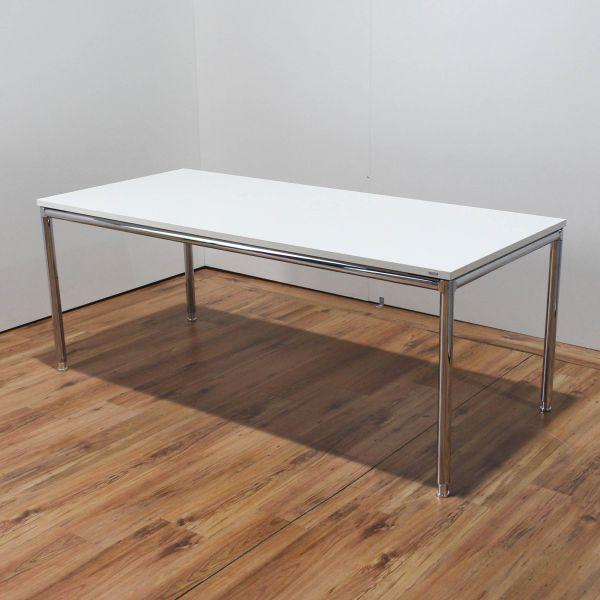 Bosse Schreibtisch 160x80cm Weiß 4-Fuß Gestell Chrom