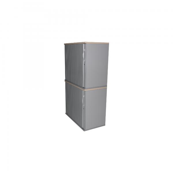 Steelcase Sideboard 4OH, Korpus weiß, Deckplatte Nussbaum, Querrolladen