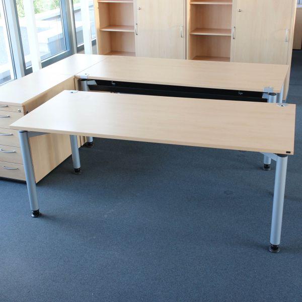 Hund Schreibtisch - 160x80cm in buche - Gestell 4-Fuß mattsilber