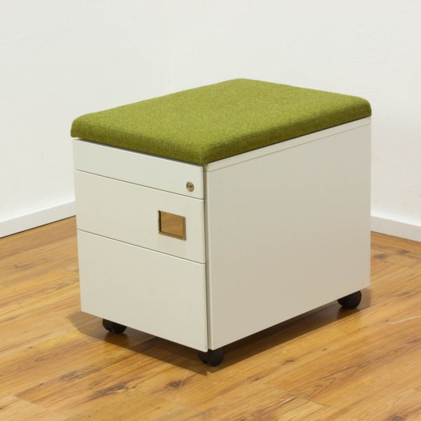 VS Rollcontainer 3 Laden weiß mit Sitzkissen grün