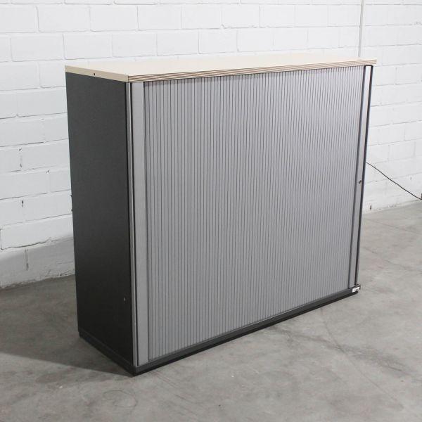Bene Sideboard 3OH Querrolladen Silber Deckplatte Ahorn