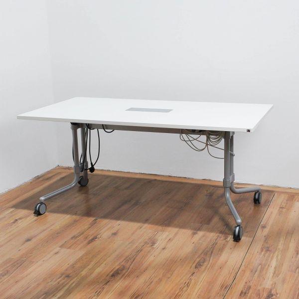König & Neurath Memo.S Konferenztisch auf Rollen 160 x 80 Platte Weiß Staffeltisch + Netzwerkport