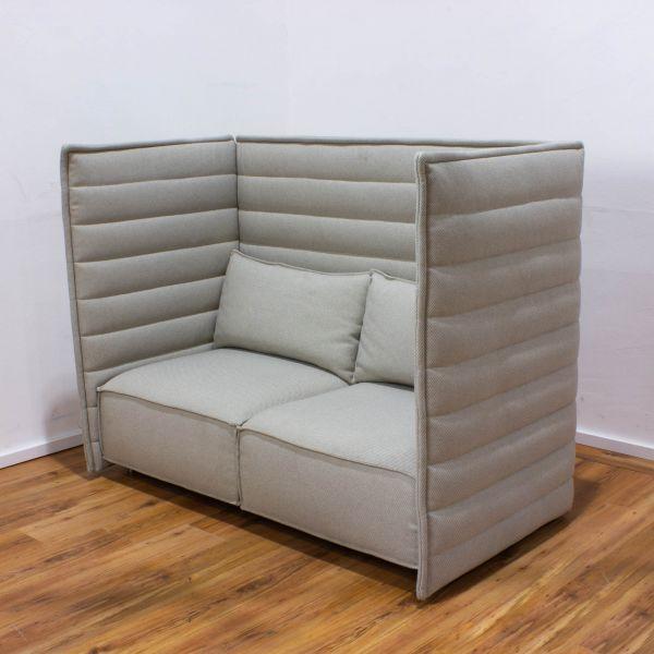 Vitra Sofa Alcove Highback 2-Sitzer Stoff grau / Elfenbein
