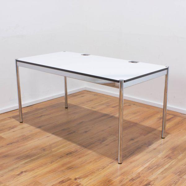 USM Haller Schreibtisch Plus 150x75cm - Tischplatte weiß -Gestell 4-Fuß chrom