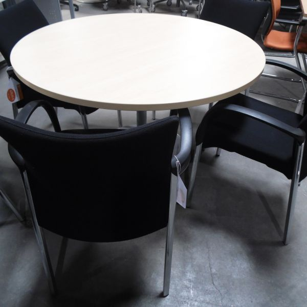 Besprechungstisch - Ø 120 cm in ahorn - Gestell silber