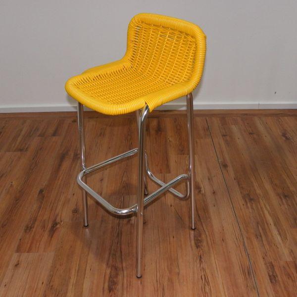 Hocker - Kunststoffgeflecht in gelb