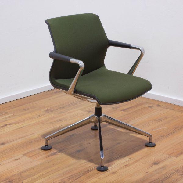"Vitra ""Unix Chair"" Besucherstuhl - Stoff forest / sierragrau - Gestell 4-Sternfuß chrom"