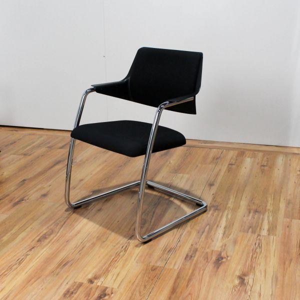 Girsberger Konferenzstuhl - Stoff in schwarz - Gestell chrom