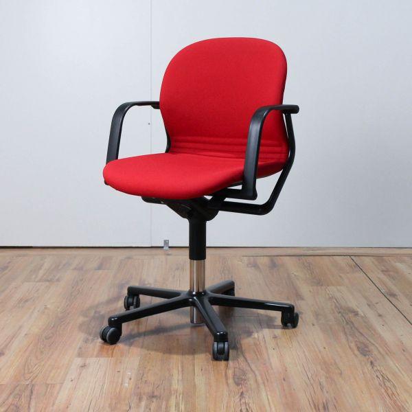 % Sale Wilkhahn FS-Line 211/8 Bürodrehstuhl Bezug Stoff Rot mittelhohe Rückenlehne