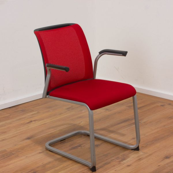 Steelcase Freischwinger Reply Air - Stoff in rot - Gestell silber