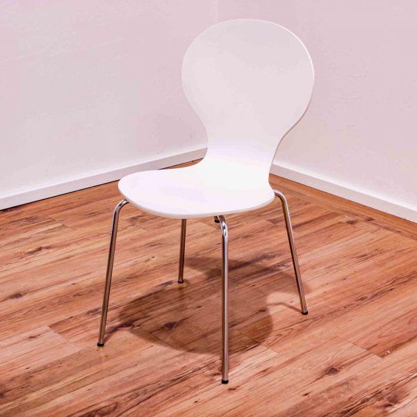 Besucherstuhl weiß - ohne Armlehnen - 4-Fußgestell chrom