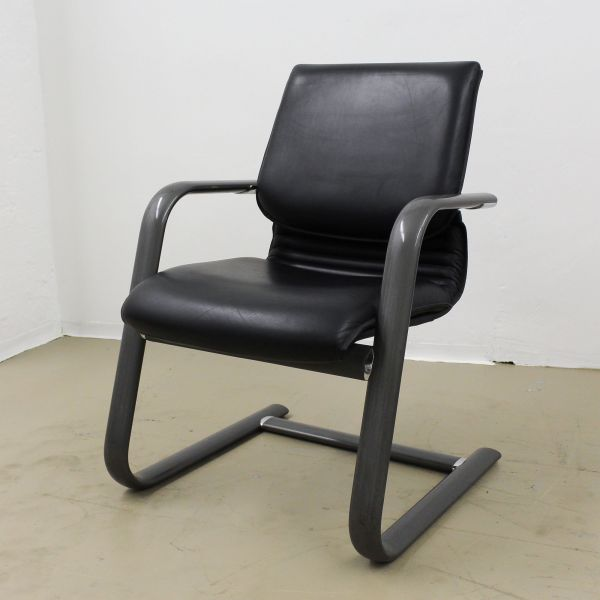 Comforto Besucherstuhl Leder schwarz