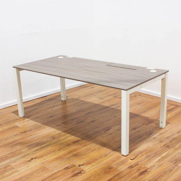 König & Neurath Schreibtisch 160 x 80 cm - Gestell weiß - Platte nabucco