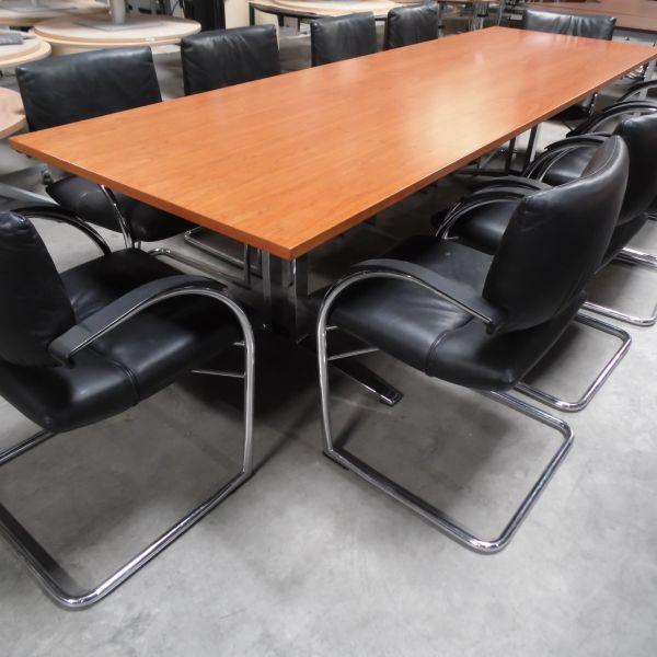Konferenztisch - 280x90 cm in dunkle buche - Gestell chrom