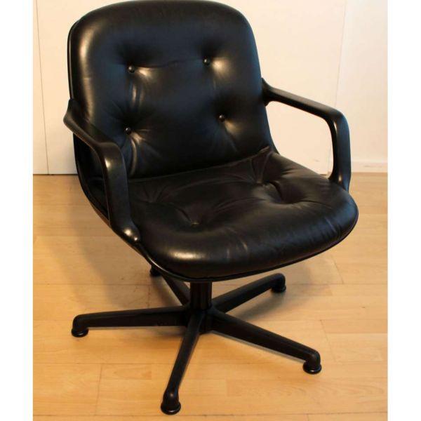 Comforto Konferenzstuhl - Leder in schwarz - Gestell schwarz