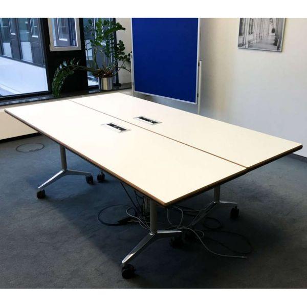 Wilkhahn Timetable Konferenztisch 200x60cm mit Netzwerkanschluss weiß chrom