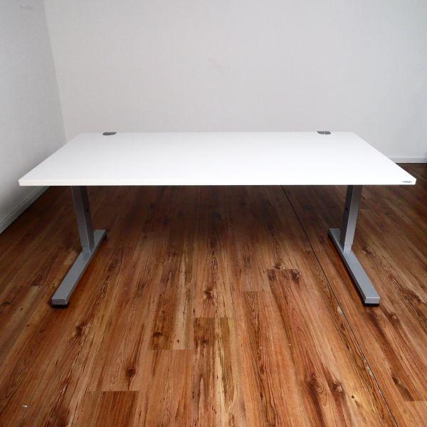 Vario Schreibtisch - 160 x 80 cm Platte weiß - T-Fuß Gestell weiß