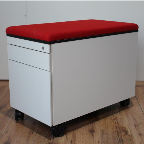 Steelcase Rollcontainer weiß 3 Laden Sitzkissen rot