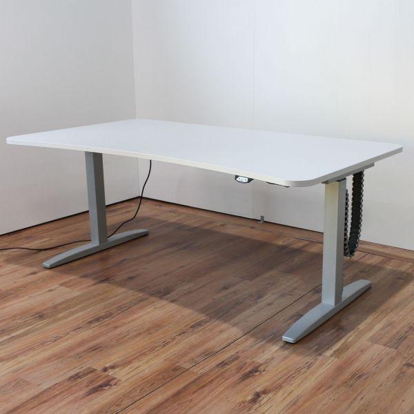 Ceka Schreibtisch elektrisch höhenverstellbar Freiformplatte Lichtgrau 180 x 90 - 100 cm