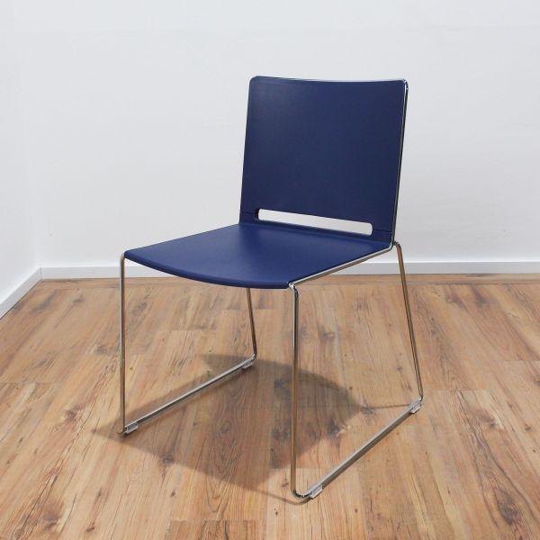 Diemmebi LaFila Plastic Chair - Sitz Blau - Gestell chrom