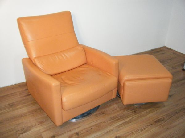 Erpo Relax-Sessel Leder Orange mit Ottoman
