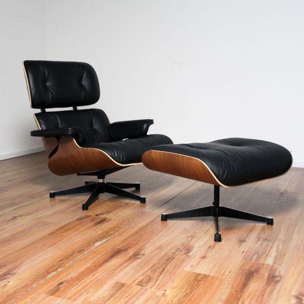 Vitra Lounge Chair - Leder schwarz - Schale Nussbaum pigmentiert + Ottomane - Sonderangebot